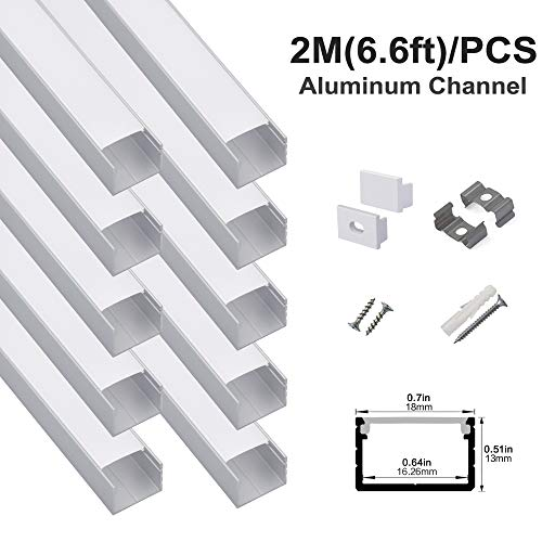 hunhun 10-Pack 6.6ft/ 2Meter Plus-Size U Shape LED Aluminum Channel System with Milky Cover, End Caps and Mounting Clips, Aluminum Profile for LED Strip Light, Special for Philips Hue Strip
