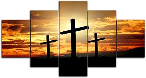 ARXBH Decorazione 5 Quadri di Pittura, 100X55 Cm / 39,37 X 21,65 Pollici The Cross At Sunset HD Stampato Pittura Wall Art 5 Tavola Tela Pittura Home Decor Pittura Soggiorno Decorazione - Allunga