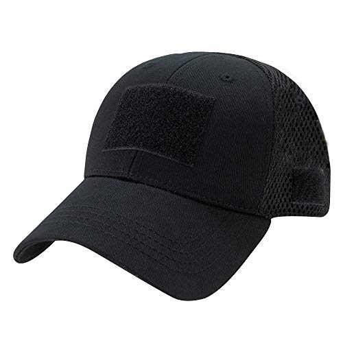 Rapid Dominance Low Crown Air Mesh Tactical Cap With Loop Patch - Black