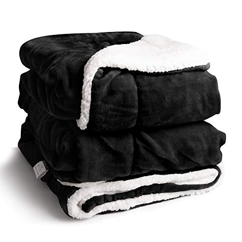EDOW Faux Sherpa Flannel Throw Blanket, 600GSM Thickened Reversible Soft Fleece Blanket for Couch, Sofa, Bed. (Black, Throw(45'x60'))