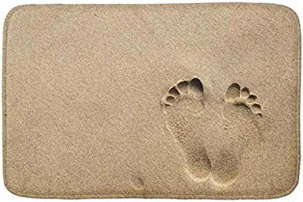 Lovestand Doormat Welcome Mat Indoor Outdoor Bath Floor Rug Decor Art Print With Non Slip Backing 30X18 Inch Bath Mat Footprint In The Sand