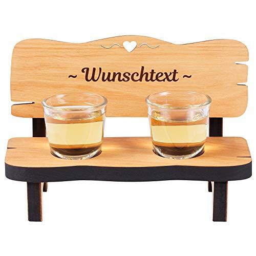 Schnapsbank mit Wunschtext: Schnapslatte mit 2 Gläsern aus Holz, personalisiert - Geschenkidee zum Vatertag Geburtstag Weihnachten Valentinstag