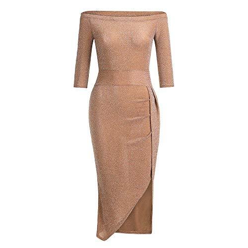 VEMOW Damen Kleid, Heißer Ballkleid Elegante Damen Schulterfrei Langarm Hochschlitz Bodycon Kleider Cocktailkleid(X1-Orange, 40 DE / 2XL CN)
