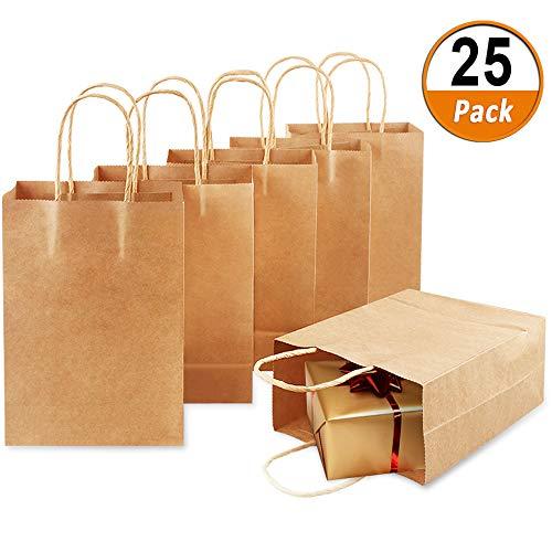 25 Stück papiertragetaschen braun Geschenktüten mit Henkel Geschenktüten Einkaufstasche aus Kraftpapier mit Griff für Geburtstags, Weihnachts, Hochzeits und Partyfeiern (21 * 15 * 8 cm)