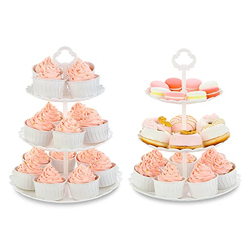 NWK Pack of 2 White Large 3-Tier Cupcake Stands...