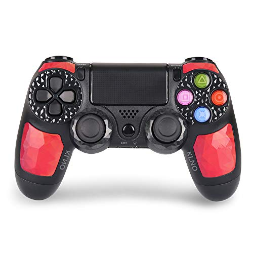 Game Controller for PS4 - Dual Vibration 4 Wireless Controller for Playstation 4 – Joystick with Sixaxis, Bluetooth, Super Power, Micro USB, Multi-Touch Clickable Touch Pad (Red)