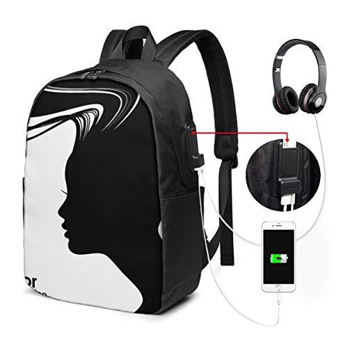 Laptop Rucksack Business Rucksack Für 17 Zoll Laptop, Frauenhaar Schulrucksack Mit USB Port für Arbeit Wandern Reisen Camping, für Herren Damen