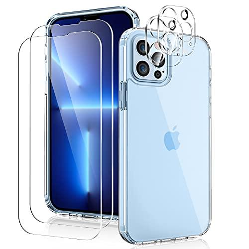YIRSUR Funda Compatible con iPhone 13 Pro MAX, con 2 Protector de Pantalla+ 2 Protector de Lente de cámara, PC Dura y Silicona TPU, Carcasa Resistente a los Golpes, 6,7pulgada - Transparente
