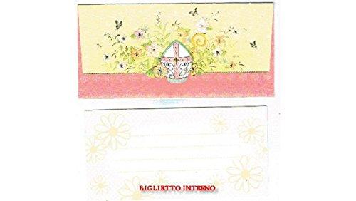 BIGLIETTO CRESIMA COMUNIONE PORTASOLDI + BUSTA 18,5X10 CM (Cresima Rosa)