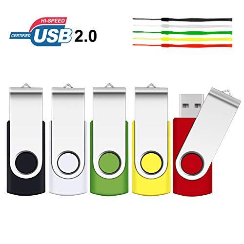 SRVR USB 2.0 Stick mit Drehgelenk, Datenspeicher, Starthilfe, Zip-Laufwerk, LED-Anzeige (verschiedene Farben mit Lanyard), 5 Stück 1 GB 5 verschiedene Farben