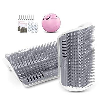 JEEZAO 2 Pièces Brosse Angle de Toilettage Massage pour Chat,Chats Cheveux Peigne avec Herbe à Chat pour Massage Outil de démangeaisons (Gris)