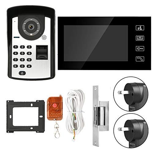 GYF Video puerta teléfono kit 7 pulgadas video puerta teléfono intercomunicador sistema Timbres entrada sistema RFID contraseña cable intercomunicador Timbres de puerta kit sin bloqueo