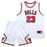 SFVE Camiseta de Baloncesto para Hombre Chicago Bulls Michael Jordan # 23, Adecuada para competiciones de Baloncesto de Deportes al Aire Libre y Chalecos de Entrenamiento Diario-White-L