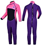 REALON Kids Wetsuit Shorty Boys Girls 3mm Neoprene One Piece Thermal Swimsuit 2mm Warm Full Long Sleeve Wet Suits Cover Toddler Child Junior Youth Swim Surf Dive (Pink 2mm Girl's Fullsuit, XL)