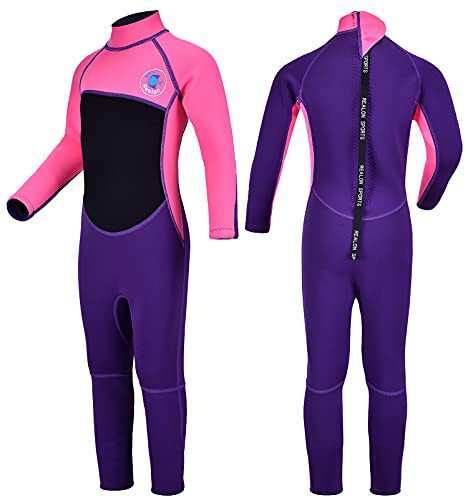 REALON Kids Wetsuit Shorty Boys Girls 3mm Neoprene One Piece Thermal Swimsuit 2mm Warm Full Long Sleeve Wet Suits Cover Toddler Child Junior Youth Swim Surf Dive (Pink 2mm Girl's Fullsuit, L)