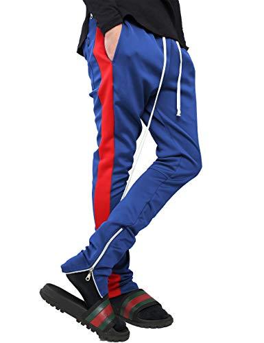 Herren-Trainingshose mit Streifen, Skinny Fit, Stretch, elastisch - Blau - Groß