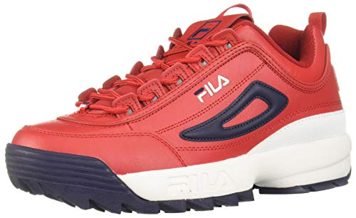 Fila Men's Disruptor II Premium Sneakers Red/White/Navy 10.5