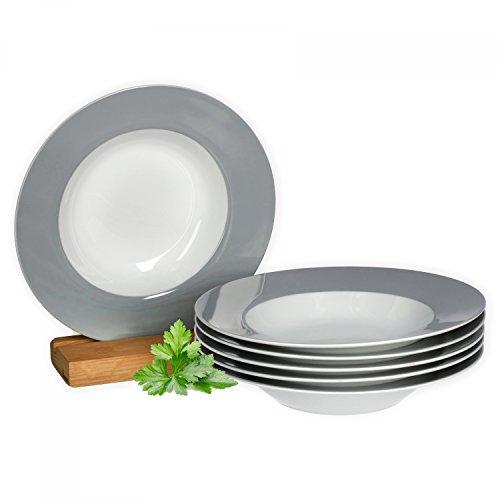 Van Well 6er Set Suppenteller Serie Vario Porzellan - Farbe wählbar, Farbe:grau