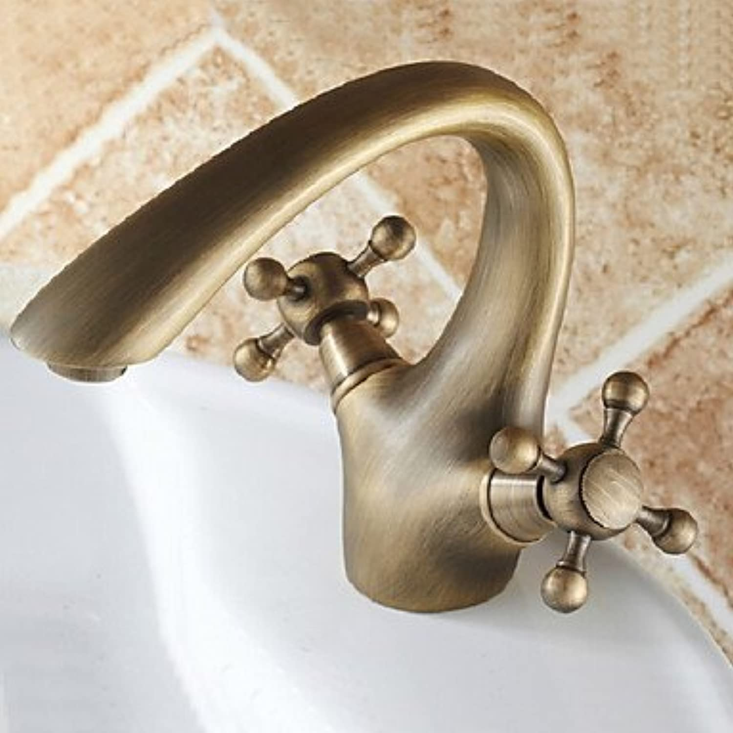 ZLL The antique bronze Centerset two handle bathroom sink faucets single hole