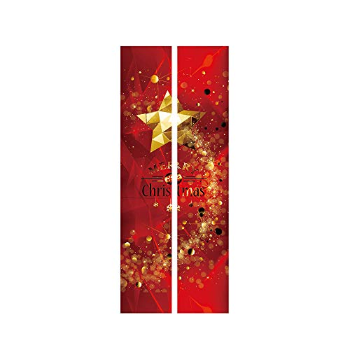 Guo Nuoen Set of 2 Merry Christmas Removable Door Mural Wall Sticker Xmas Home Entrance House Decal PVC Self-Adhesive