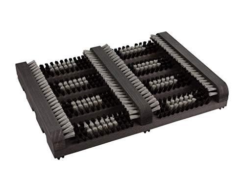 kaufMAX Schuhputzer/Schuhabstreifer Logan Black (36x27x5) - der perfekte Fussabtreter aus Buche mit PVC-Borste für innen und außen in TOP-Qualität