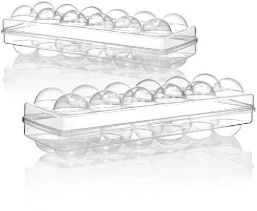 com-four 2X Box Uova per 12 Uova - Contenitore per Uova per Il Frigorifero - Porta-Uova per Uova fresche - Scatola per Uova