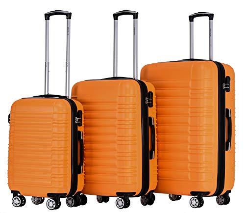 BEIBYE 2088 Zwillingsrollen Reisekoffer Koffer Trolleys Hartschale M-L-XL-Set in 13 Farben (Orangen, Set)