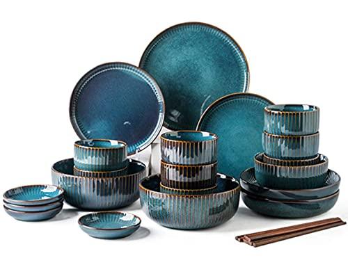 Conjunto de vajillas de 28 Piezas, Creatividad Moderna Placas de Cena de Porcelana Combi (Servicio Establecido para 8 Personas), Glaze Setware de vajilla de gres
