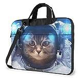 Astronaut Space Cat Bedruckte Laptoptasche, Aktentasche Laptop-Umhängetasche 15,6 Zoll