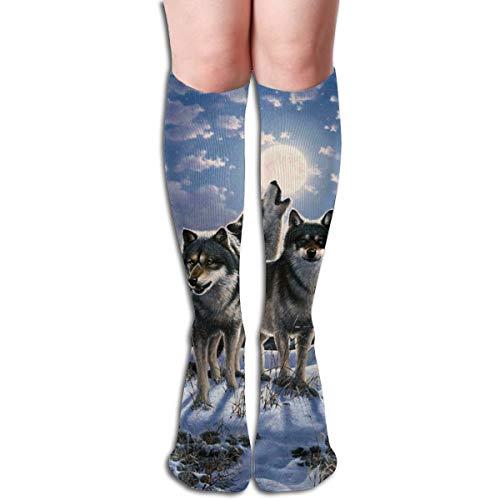 EU Medias de calcetines con estampados coloridos de Wolf Moonnight Teen Medias 3.4x20 pulgadas