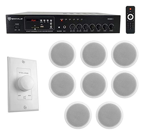 Rockville Commercial Restaurant Amp+(8) 6 inches White Ceiling Speakers+Wall Control