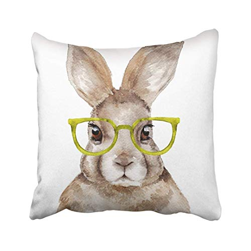 ghjkuyt412 Custom Pink Animal Watercolor Portrait of Rabbit Funny Hare with Glasses Nursery Bunny Face Male Pillowcase Pill.