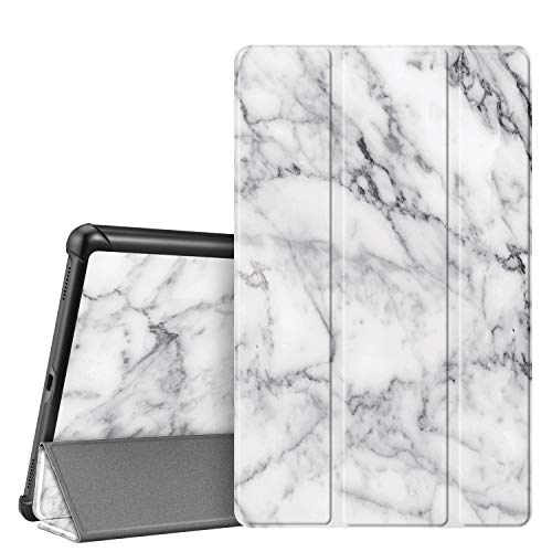 Fintie Hülle für Samsung Galaxy Tab A 10.1 T510/T515 2019 - Ultra Schlank Superleicht Kunstleder Schutzhülle Cover Hülle mit Standfunktion für Samsung Galaxy Tab A 10.1 Zoll 2019 Tablet, Marmor Weiß