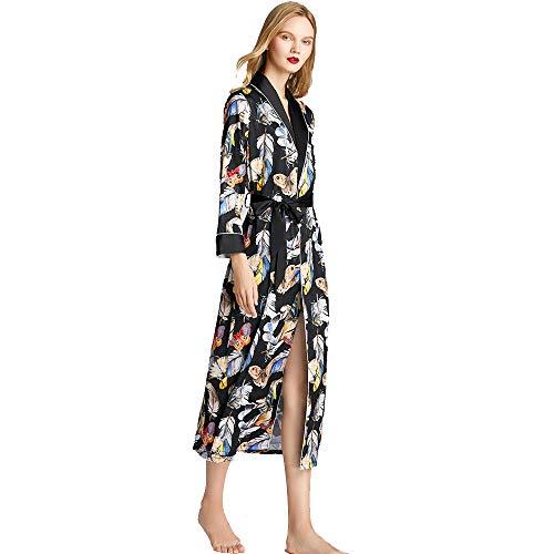 Vrouwen Kimono Robe, Silk Lichtgewicht lange klederen Satin Badjas Soft Slaapkleding V-Neck Ladies loungewear,L