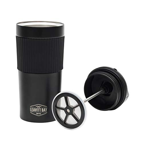 French Press Travel Mug – Portable Coffee & Tea Maker – Ideal Personal Mug for Travel, Car, Office, Camping - Black Double Wall Mini Press – Unique Double Gasket Filter - Hot or Cold Brew – 15 oz