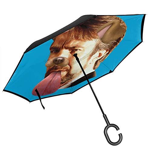 Die Hard Hans Gruber Hunde-Snapchat Filter, doppelschichtig, umgekehrter Regenschirm für Auto, umgekehrt, faltbar, mit C-förmigen Händen, leicht und Winddicht