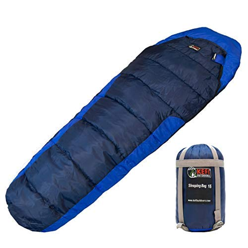 Kefi Outdoors Men's, Women's, Boy's and Girl's Sleeping Bag - Portable, Lightweight 3-Season Ideal for Camping, Hiking, Traveling -Heavy-Duty Ultralight Compression Sack (Navy and Royal Blue)
