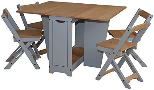 Furniture 321 Ellingham Drop Leaf Butterfly Dining Table Set with 4 Stowaway Foldaway Chairs (PINE & GREY)
