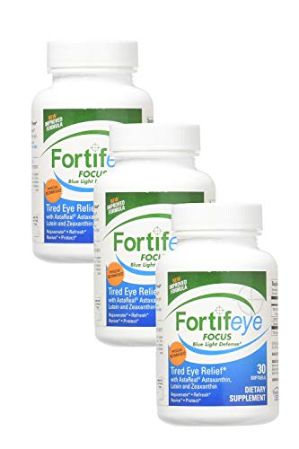 Fortifeye Vitamins Focus Eye Care Supplement, Complex Mix of Macular Carotenoids Including Astaxanthin, Lutein, and Zeaxanthin - 90 Day Supply (3 Bottles of 30), Softgel Capsules