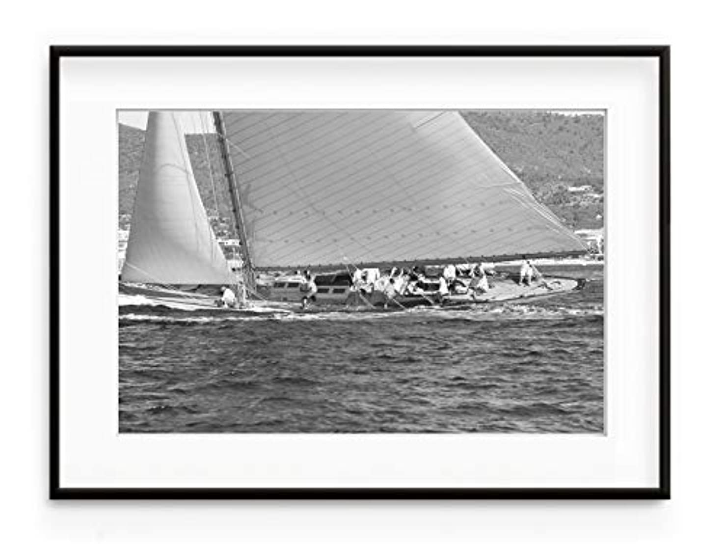 Black and White Sailing Boat, Natural Solid Oak Frame, with Mount, Multicolored, 70x100