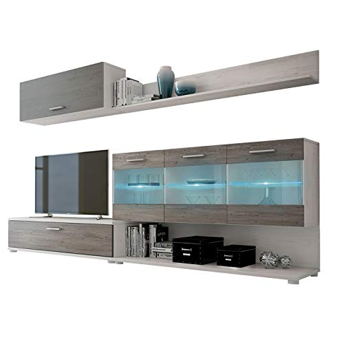 HomeSouth - Mueble de Comedor, modulo Salon Vitrina con Led, Modelo Zafiro, Acabado Color Andersen Pino y Gris, Medidas: 250 x 36,9 cm de Fondo