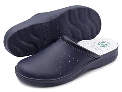 Chanclas sanitarias Hombre y Mujer, Zapatillas Profesionales Cerradas, Zuecos Sanitarios, Zapatos ortopédicos cómodos, Suela anatómica, Made in Italy Azul Size: 41 EU