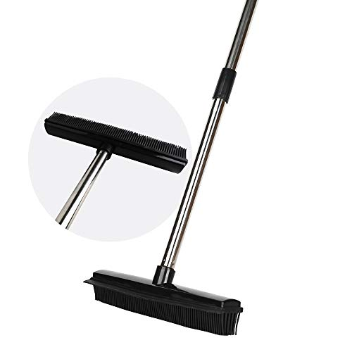 Pet Hair Rubber Broom Floor Brush for Carpet Dog Hair Remover with Built in Squeegee Silicone Broom Suitable for All Surface