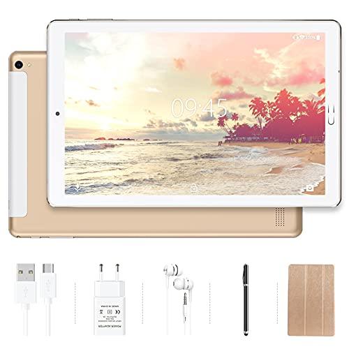 Tablet 10 pollici YESTEL Tablet Android 10.0 con 4 GB di RAM + 64 GB di ROM - WiFi   Bluetooth   GPS, 8000mAH con Cover-Dorato