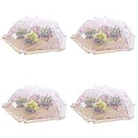 フードカバー 4世帯食事カバー360のセット°フライ洗えるフードテント折りたたみ食事カバーメッシュファブリックのレストランバーベキューアンチ昆虫 (Color : Pink, Size : 24-inch)