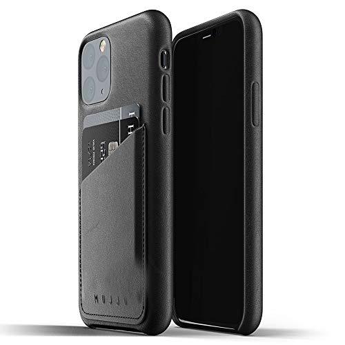 Mujjo - Custodia a portafoglio in pelle per Apple iPhone 11 Pro, tasca porta carte da 2 a 3, in morbida pelle morbida, effetto invecchiamento, colore nero