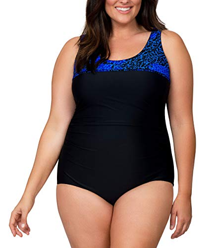 Caribbean Sand Women's Plus Size High Fashion One Piece Cheetah Print Swimsuit,Blue/Blk,22