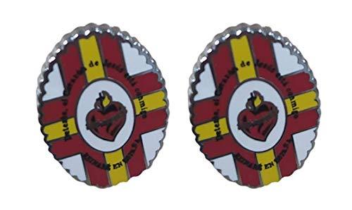 Gemelolandia | | Pack 2 Pins de Solapa Detente de Bala Carlista Sagrado Corazón de Jesus 17x13mm | Pines Para las Camisas, Chaquetas, Americanas o Jerséis | Detalles Para Regalos