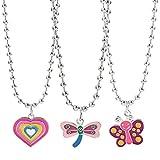 RG-FA Juego de collar con colgante de libélula con forma de corazón de mariposa de 3 piezas, joyería de los años 90