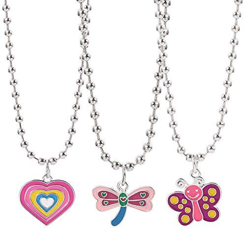 Moregirl 3 Piezas Colorido Mariposa corazón libélula Colgante Collar Kit Mujeres Harajuku 90s Animal Dibujos Animados Gargantilla Conjunto joyería de Moda